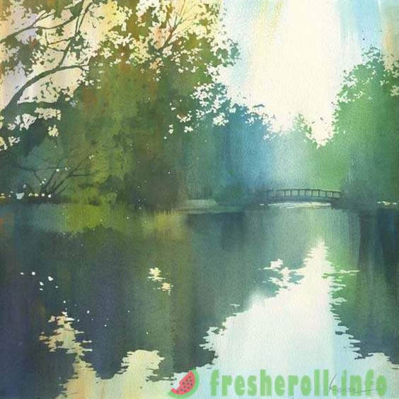 Tranquil watercolor painting